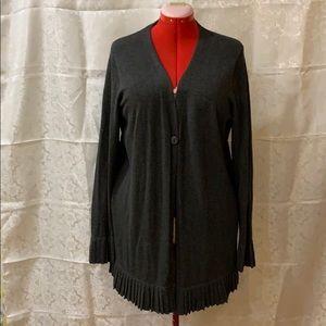 Long dark grey one button closure sweater